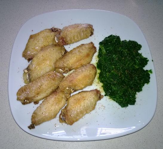 Alitas de Pollo con Espinacas