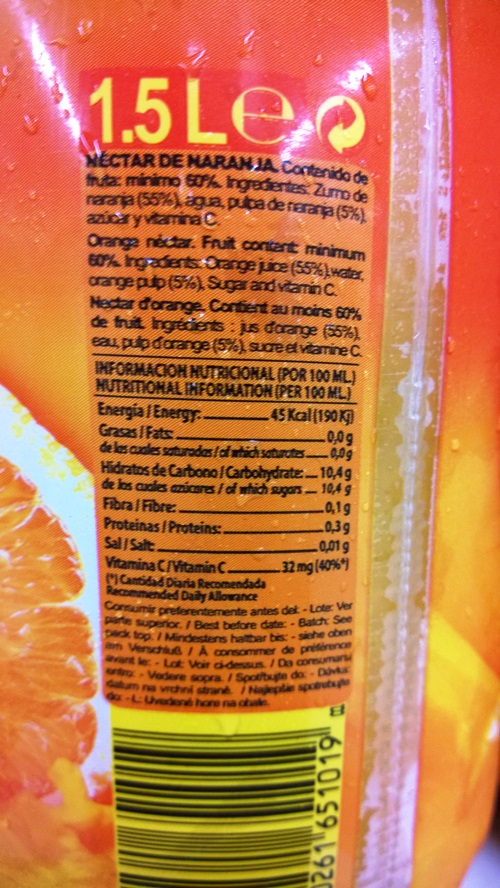 Denunciable: Zumo de Naranja Embotellado | ADELGAZAR SIN