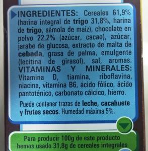 Ingredientes de los cereales Nestlé Chocapic