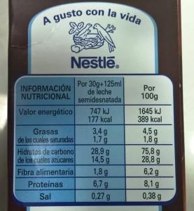Valores nutricionales de los cereales Nestlé Chocapic