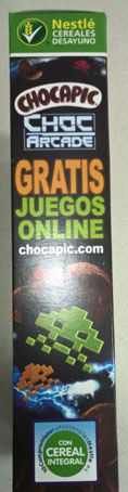 Detalle de la caja de cereales Nestlé Chocapic