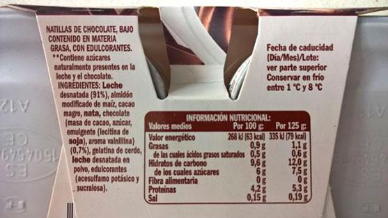 Natillas de Mercadona sin Azúcares Añadidos