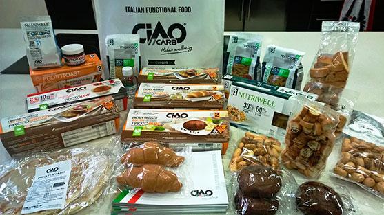 Muestras de productos Ciao Carb que he traído del viaje