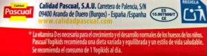 Ingredientes del yogur YogiKids de Pascual