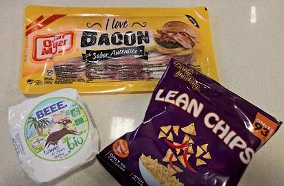 Ingredientes de la receta de dip de queso de cabra y bacon